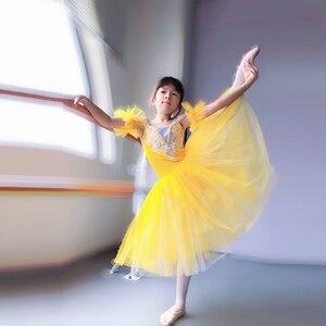 Image 2 - Geel Ballet Tutu Professionele Kind Lange Tulle Zacht Roze Romantische Ballet Tutu S Voor Meisjes Blauw Ballerina Jurk Meisjes Dans