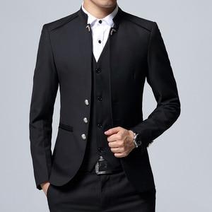 Image 3 - Herren Anzug 3 Stück Set Slim fit Männer Anzug Jacken + Hosen + Westen Hochzeit Bankett Männlichen einfarbig business Casual Blazer Mäntel
