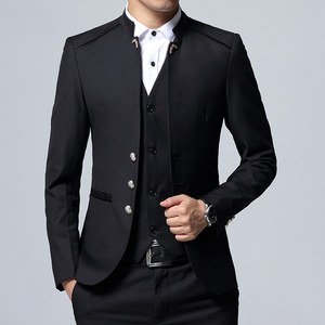 Image 3 - Mens Suit 3 Piece Set Slim fit Men Suit Jackets + Pants + Vests Wedding Banquet Male Solid color Business Casual Blazer Coats