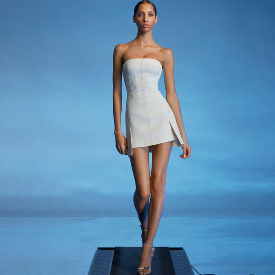 Adyce 2020 New Summer White Strapless Bandage <font><b>Dress</b></font> Women <font><b>Sexy</b></font> Sleeveless Club <font><b>Mini</b></font> Celebrity Evening Runway Party <font><b>Dress</b></font> Vestido image