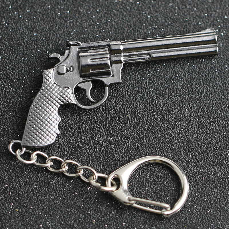 CS GO CSGO CF Keychain Revolver Magnum Walking Dead Rick Grime Pistol Gun Weapon Counter Strike Keyring Key Chain Ring Wholesale