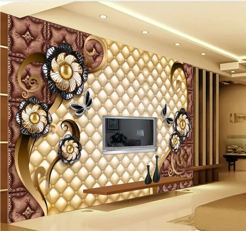 Professional Custom Wallpaper Luxury Black Dahlia Soft Bag Jewelry Wall - High-grade Waterproof Material