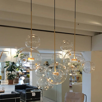 Clear Glass Ball Living Room Chandeliers Art Deco Bubble Lamp Shades Led Chandelier Modern Rustic Bar Lamps Stair Chandelier