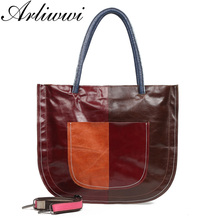 Arliwwi Brand Women's Real Oil Wax Cow Leather Bags Patchwor