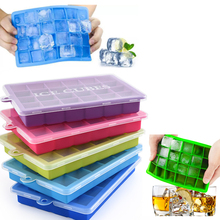 24 Grid Ice Cube Mold With Lid Eco-Friendly Silicone Square Ice Cavity Tray Mould Easy Release Ice Cube Bar Kitchen Accessories
