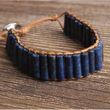 LanLi natural Jewelry  mazarine lapis lazuli stone cylinder  knit  bracelet men and women Giving presents and self use