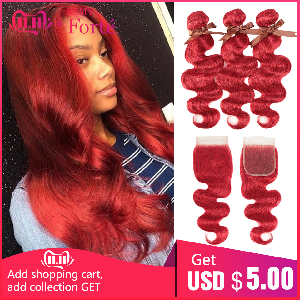Remy Forte Body Wave Bundles With Closure Red Bundles With Closure Brazilian Hair Weave Bundles 3/4 Bundles With Closure