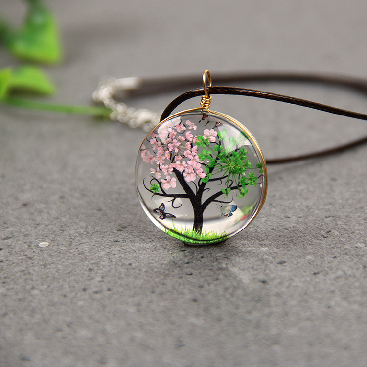 Fashion Tree Of Life Pendant Necklace  Sweater Chain Jewellery Handmade Lucky Amulet Gifts Her Woman Free Rope