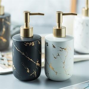 Image 1 - Нордическая мраморная бутылка для хранения зерна 300 мл для ванной дезинфицирующий шампунь для рук бутылки жидкое мыло керамический пресс бутылка