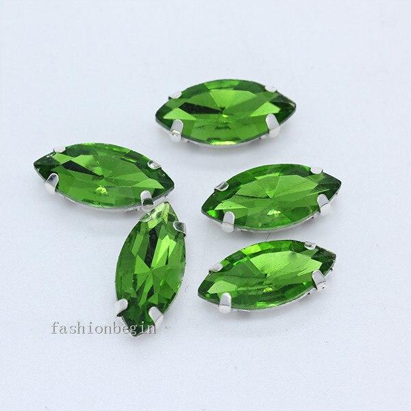 Всех размеров Наветт 24-цветное стекло камень с плоской задней частью, пришить с украшением в виде кристаллов Стразы драгоценные камни бисер с серебряной нитью, бледно-коготь кнопки для одежды аксессуары - Цвет: grass green
