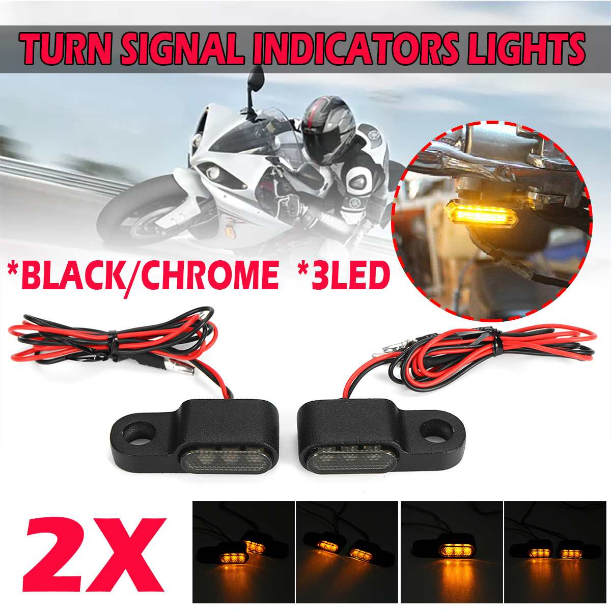 2PCS 12V Amber signal lamp Motorcycle Indicators LED Turn Signal Light Handlebar Blinker Aluminum Alloy Black Chorme