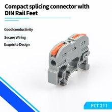 Разъем для провода на din-рейку клеммной колодки PCT-211 быстрого подключения компактный сплайсинга проводник быстрой зарядки кабель разъем пр...