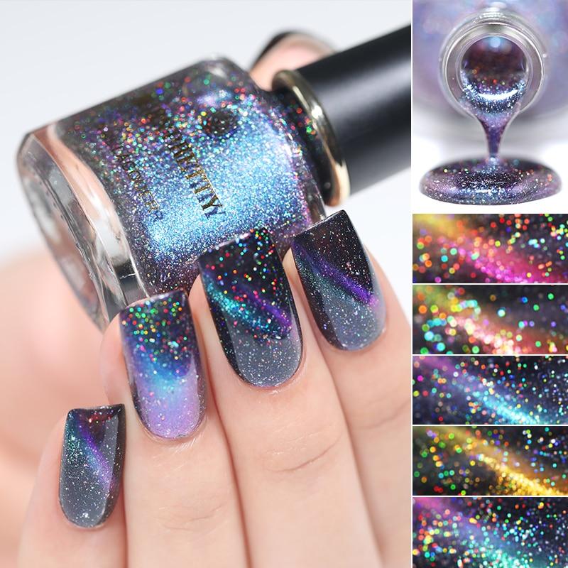 BORN PRETTY 3D Magnetic Glitter Nail Polish 6ml Holographic Chameleon Cat Eye Nail Varnish Nail Lacquer Black Base Needed