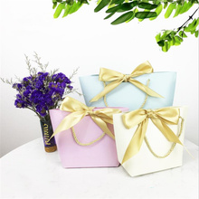 10pcs Large Size Bow Gift Box For Pajamas Clothes Books Packaging Gold Handle Paper Bags Kraft Bag With Handles