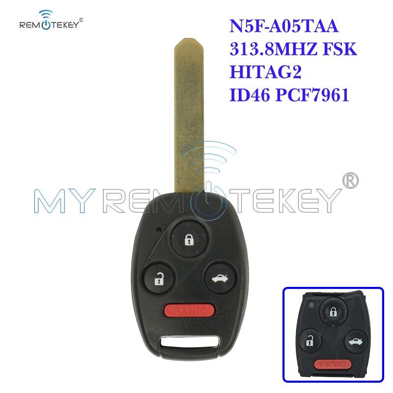 Remote Car Key N5F A05TAA 3 Button with Panic 313.8 Mhz for Honda 2012 2013 Civic Hybrid EX SI 2014 Accord Remtekey|Car Key| |  - title=