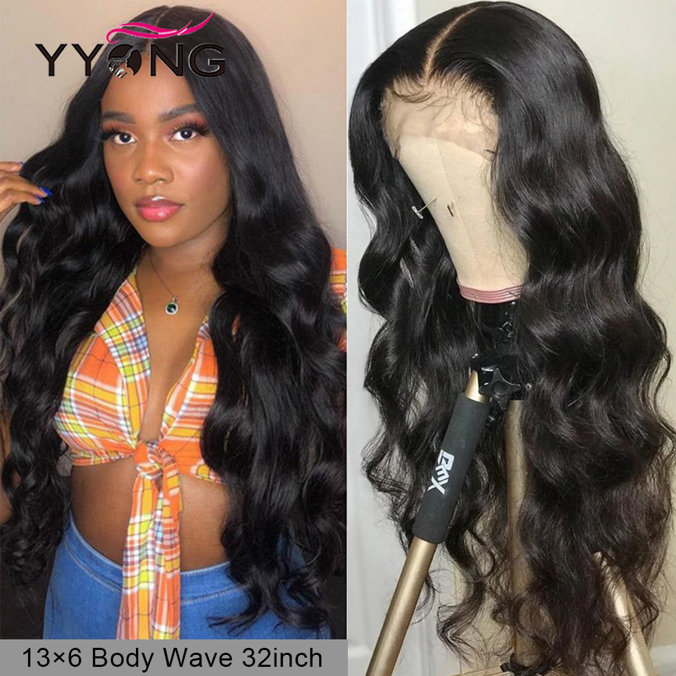 YYong 13x6 Lace Front Wigs Remy Human Hair Wig Malaysian Body Wave Lace Frontal Wig Natural Hairline 150% 120%Density
