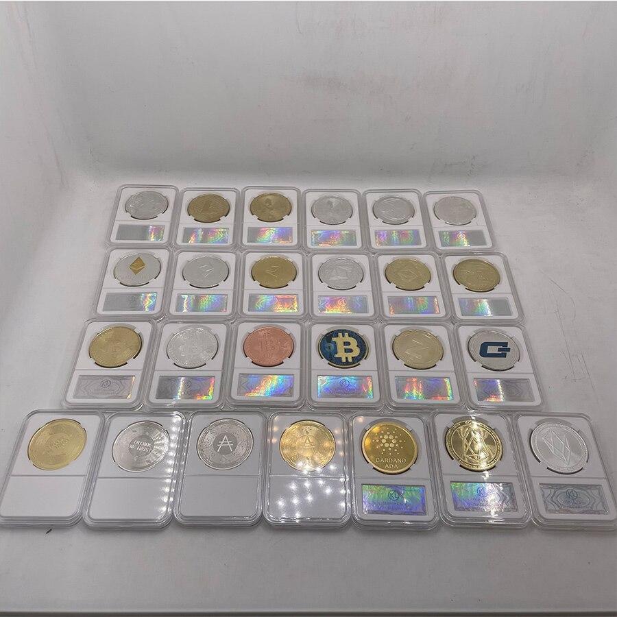 Dogecoin/Биткоин/эфириум/литекоин/приборная панель/пульсация/кримона EOS/монета Ada Кардано монета бинтенс позолоченная монета Биткоин с держате...