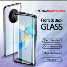 360 capa completa protetora caso da aleta para huawei companheiro 40 pro mate40 pro + caso de vidro magnético para huawei companheiro 30 20 pro 20x fundas
