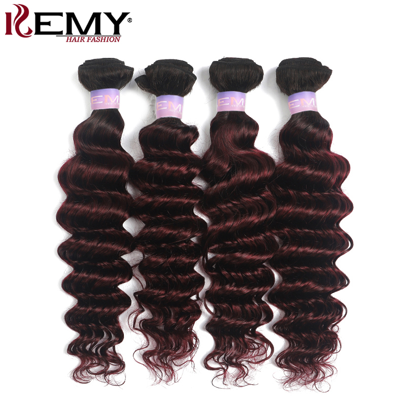 T1B/99J Burgundy Brazilian Deep Wave Human Hair Bundles Ombre Red Color Hair Weave Bundles Non-Remy Hair Extension KEMY HAIR