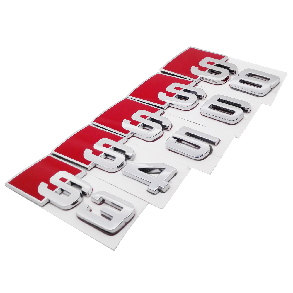 For Audi S3 S4 S5 S6 S8 RS3 RS4 RS5 RS6 RS8 Logo Car Sticker Metal Emblem Auto Badge Decal For Audi A3 A4 A5 A6 A8 Decoration