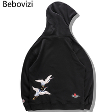 Bebovizi Japanese Crane Bird Embroidered Pullover Hooded Sweatshirts Hoodies Men Harajuku Hip Hop Hoodie Streetwear Tops 2019