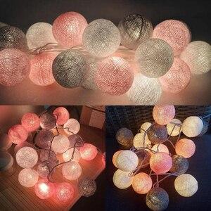Image 1 - QYJSD 3M LED Baumwolle Ball Girlande Lichter String Weihnachten Weihnachten Outdoor Urlaub Hochzeit Party Baby Bett Fee Lichter Dekoration