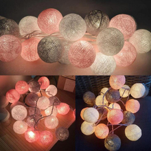 Qyjsd 3m led algodão bola guirlanda luzes da corda natal natal feriado ao ar livre festa de casamento do bebê cama luzes de fadas decoração