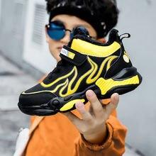 Зима 2020 детская модная обувь для мальчиков желтые синие кроссовки