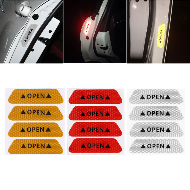 EAFC 4pcs Fluorescent Car OPEN Reflective Strips Waterproof Warning Stickers Night Driving Safety Lighting Luminous Tapes