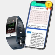 """חדש אק""""ג חכם צמיד מדחום טמפרטורת גוף מדידה בריאות פונקצית קצב לב bp חכם להקת שעון עמיד למים"""