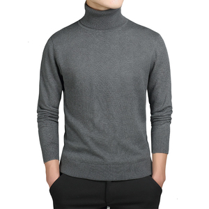 Solid Turtleneck Men Sweater Casual Pullovers Autumn Fashion Style Sweater Solid Slim Korea Style Fit Knitwear Long Sleeve Coat