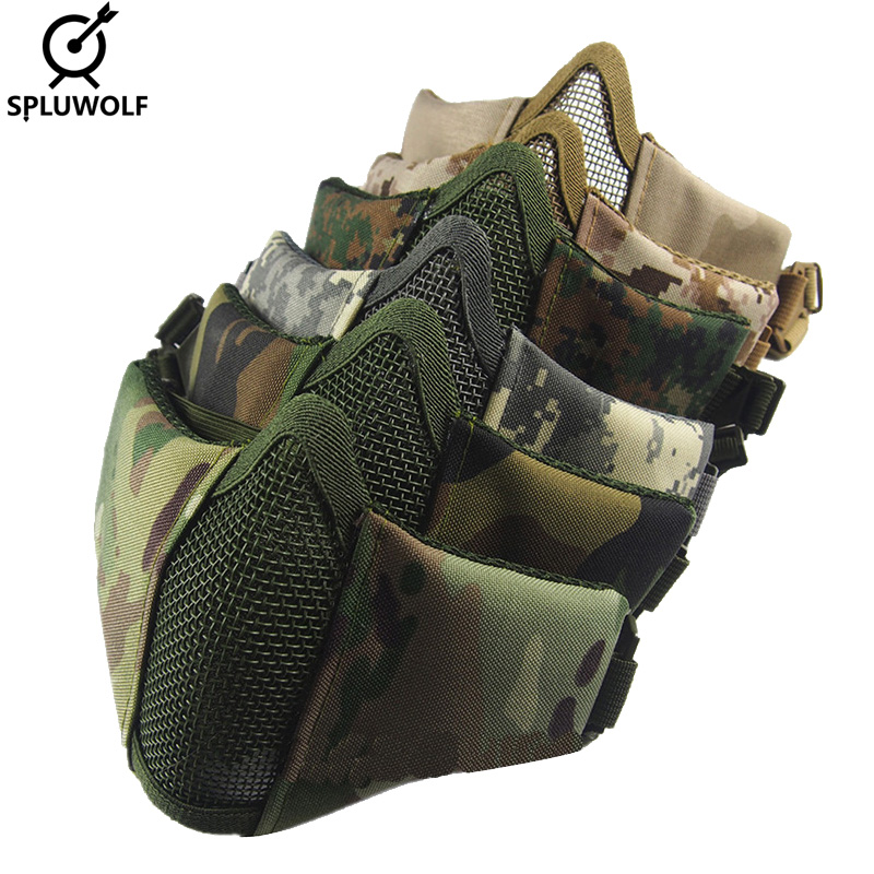 Tactical Protective Accessories Metal Airsoft Paintball Mask Half Face mascarilla tactica Free Shipping