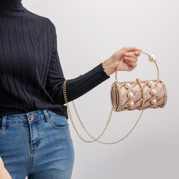 Hollow Out Diamonds Small Barrel Shaped Metal Cage Evening Clutch 3