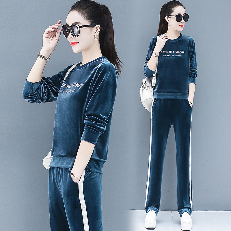 4XL Spring Women Sport Suit Velvet Loose Sweatshirt Wide Leg Pant Casual Jogger Running Workout Outfit Set Sportswear Tracksuits