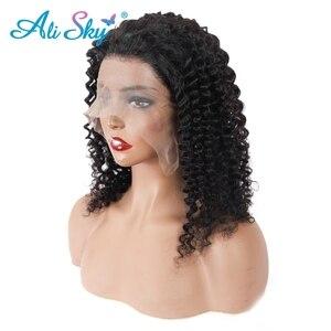 Image 5 - Malezyjski perwersyjne kręcone koronki przodu peruka 360 HD przejrzyste koronki przodu włosów ludzkich peruk dla czarnych kobiet 13*6 kręcone Bob peruka PrePlucked