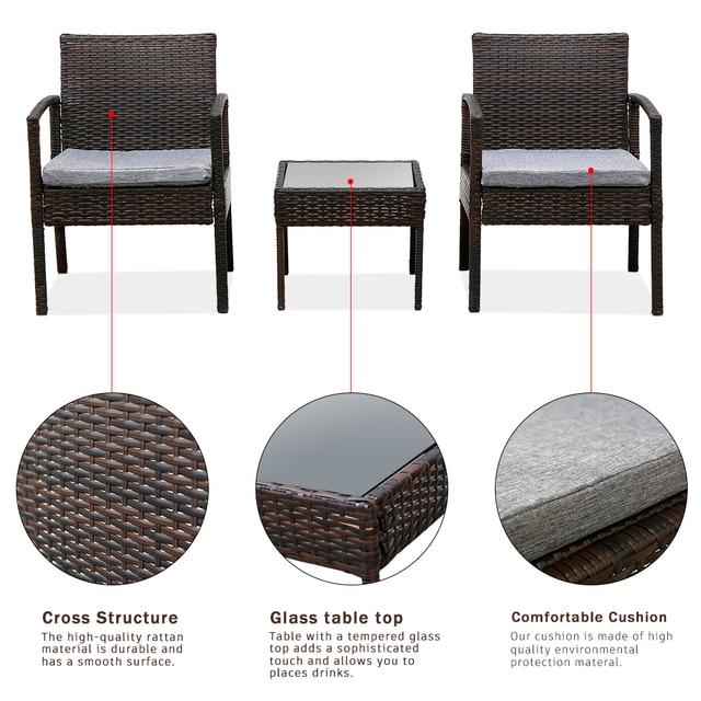 3PC Patio Furniture Wicker Rattan Outdoor Conversation Set  5
