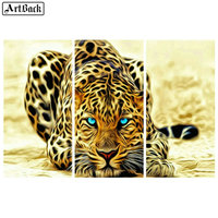 Full square animal diy 5d diamond painting leopard diamond mosaic 3d round African big cat home decoration
