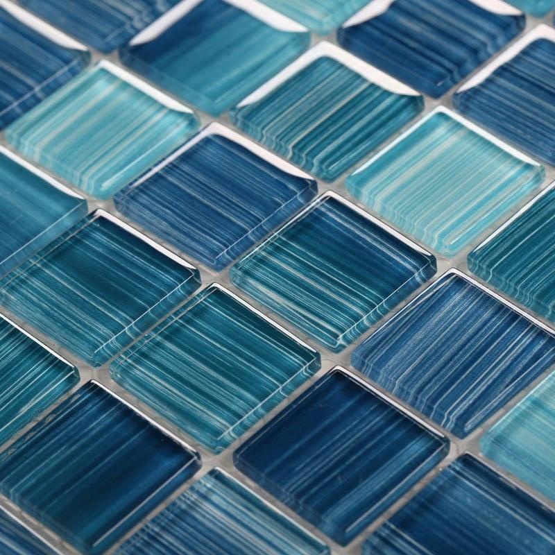 hand painted blue glass mosaic wall tiles kitchen backsplash bathroom swimming pool wallpaper 2 color