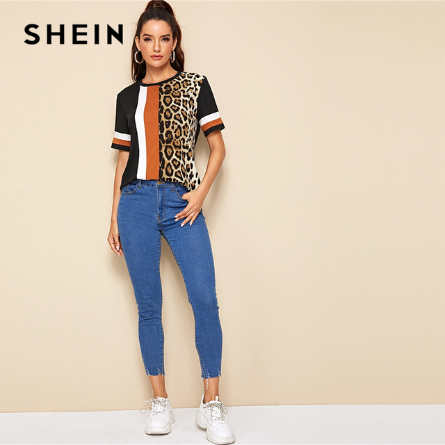 Block Cut-and-Sew Leopard Panel Top Short Sleeve O-Neck Casual T Shirt 3