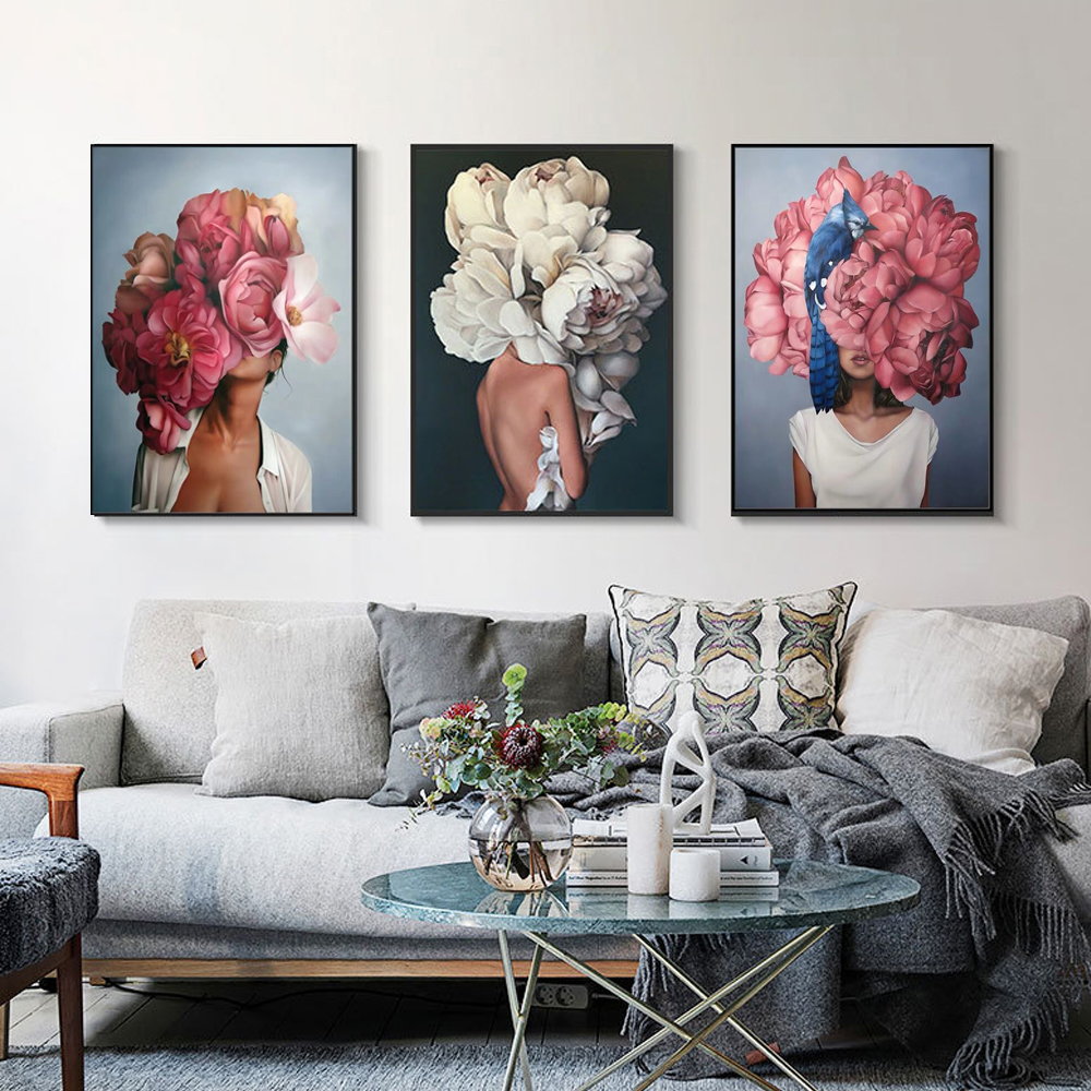Nordic Modern Floral Feather Lady Abstract Fashion Style Canvas Painting Art Print Poster Picture On Wall Living Room Home Decor