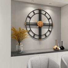 Horloge murale Simple de 80cm en fer forgé, style européen, mode créative, silencieuse, décoration moderne pour maison