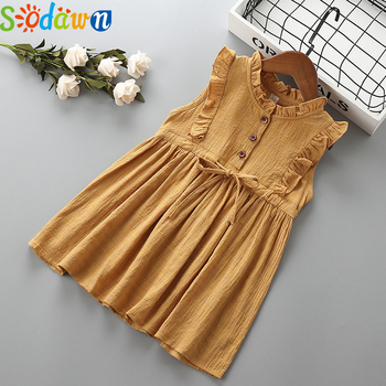 цена на Sodawn 2020 Kids Girl Dresses Soild Dresses Princess Girls Clothes Party Children Clothing Summer Toddler Dresses