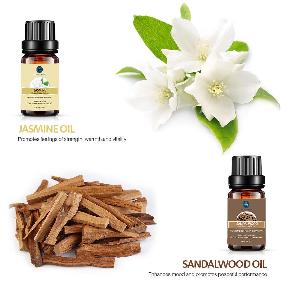 Lagunamoon 20Pcs/Set 10ML Essential Oil Gift Set Rose Lavender Sandalwood Jasmine Vanilla Tea Tree Aromatherapy Diffuser Massage