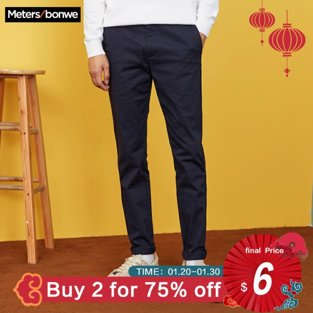 METERSBONWE Men Pants  2019 Spring Autumn Wild Slim Fit Chinos Fashion Male Brand Trousers