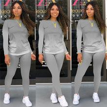 Moda kobiety na co dzień 2 sztuka stroje jesień zima z długim rękawem wycięcie pod szyją wydruk gradientowy topy + zwykły obcisłe spodnie zestaw odzieży sportowej