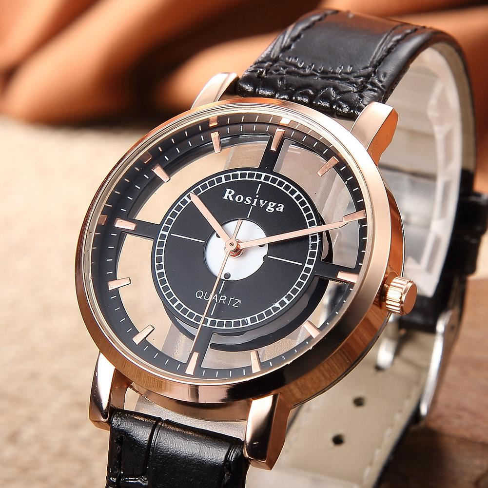 Unisex Vintage Hollow Quartz Watch Clock Retro Women Round Dial Quartz No Numbers Faux Leather Wrist Watch Men Gift парные часы