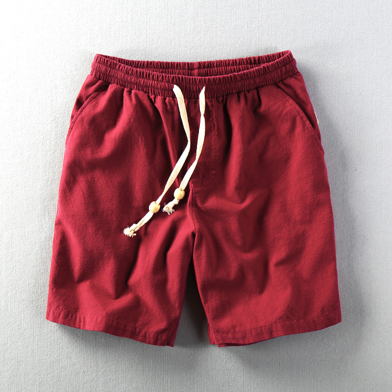 Men Summer Fashion Japan Style Elastic Waist Solid Color High Quality Cotton Linen Shorts Male Casual Daily Beach Holiday Shorts
