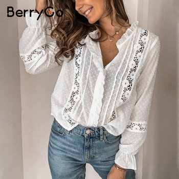 BerryGo Summer floral cotton white blouse Vintage hollow out female office ladies tops Casual lace long sleeve blouse shirts lace hollow bowknot blouse