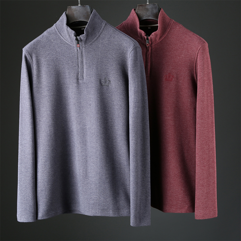JSBD Autumn And Winter Half-open Zipper Skin-loving Soft Velveteen Fabric Men Slim Stand Collar  With A Thick Bottom