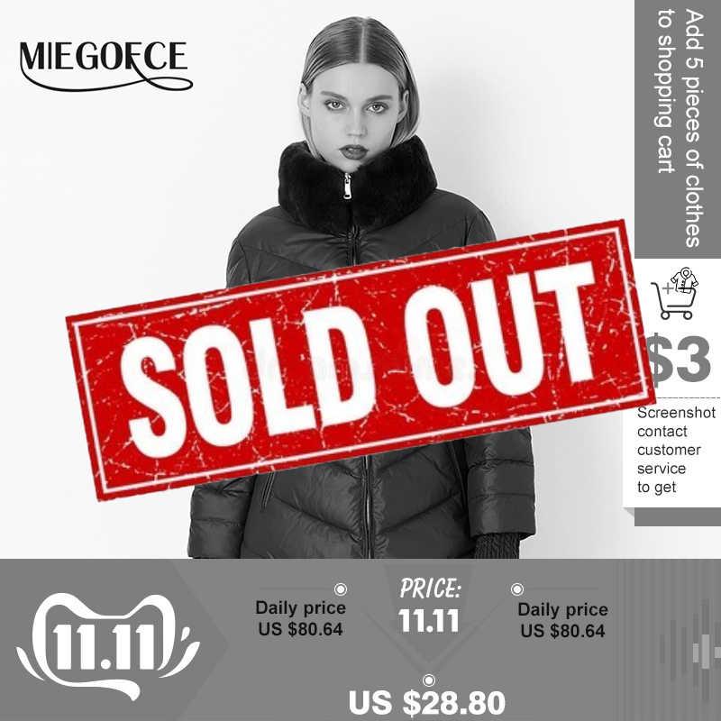 MIEGOFCE 2019 Collection Parka femme hiver coupe-vent manteau épais femme Style européen col en fourrure de lapin veste chaude femme
